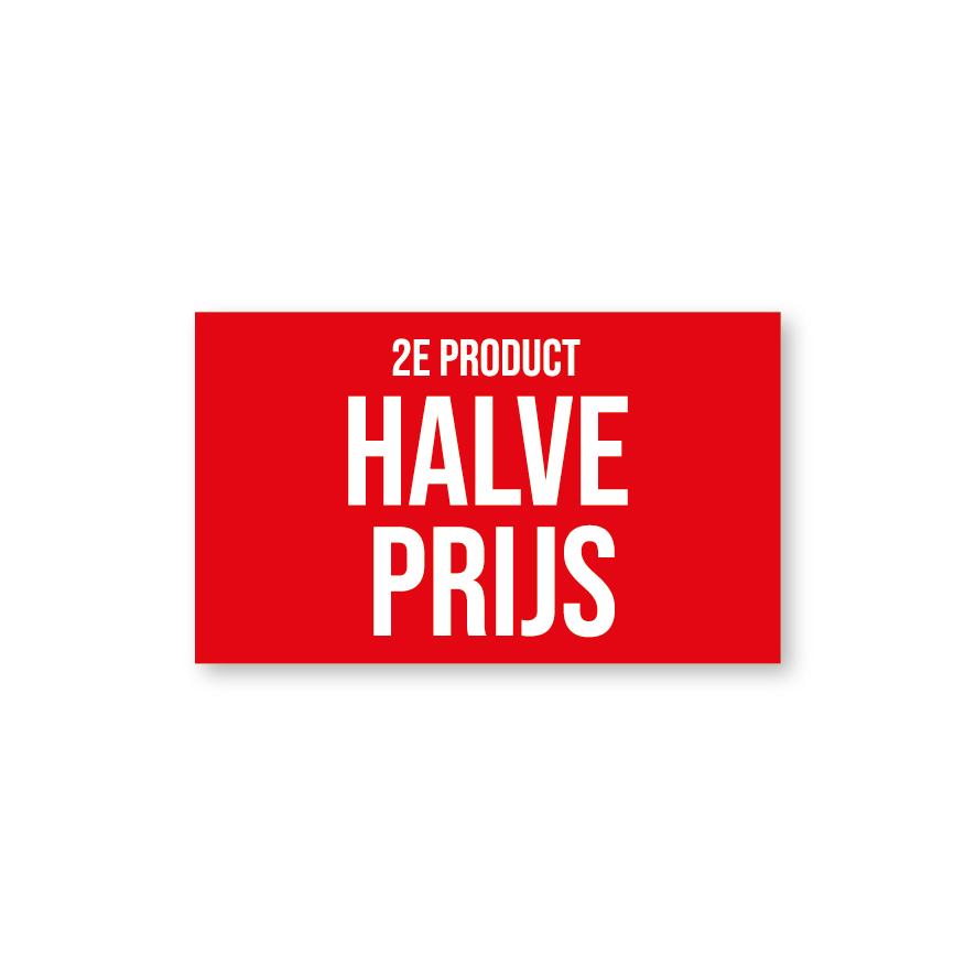 2e product halve prijs raamsticker rood-wit rechthoek