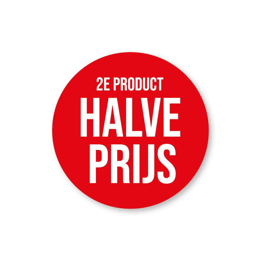 2e product halve prijs raamsticker rood-wit rond