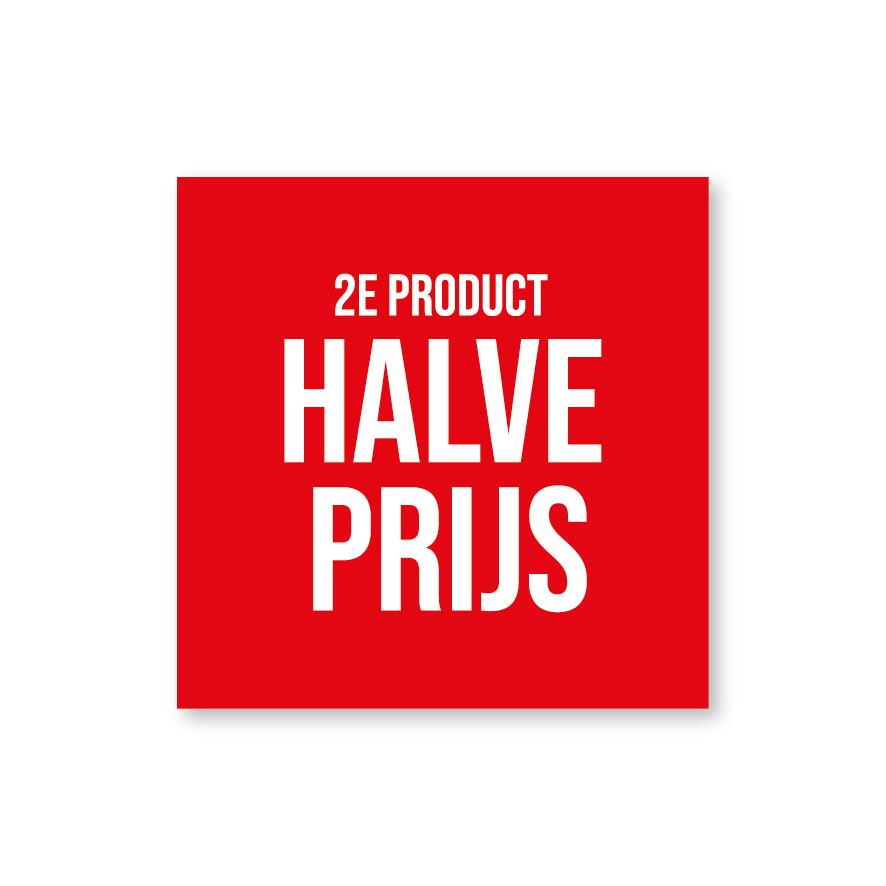 2e product halve prijs raamsticker rood-wit vierkant