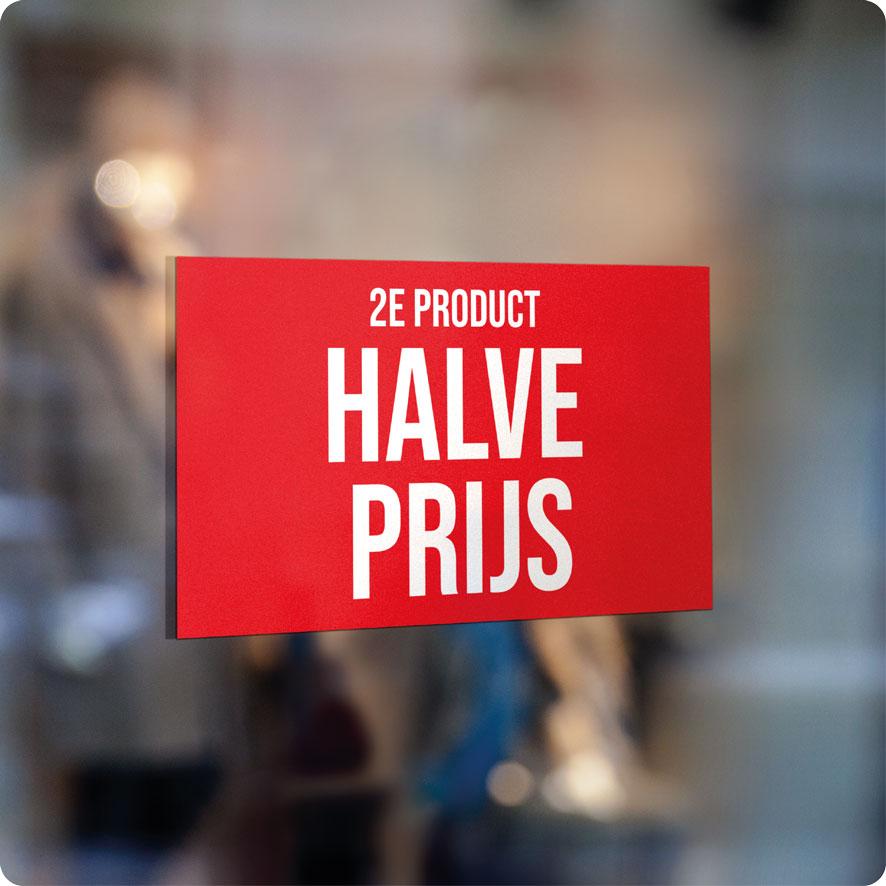 Voorbeeld '2e product halve prijs' raamsticker