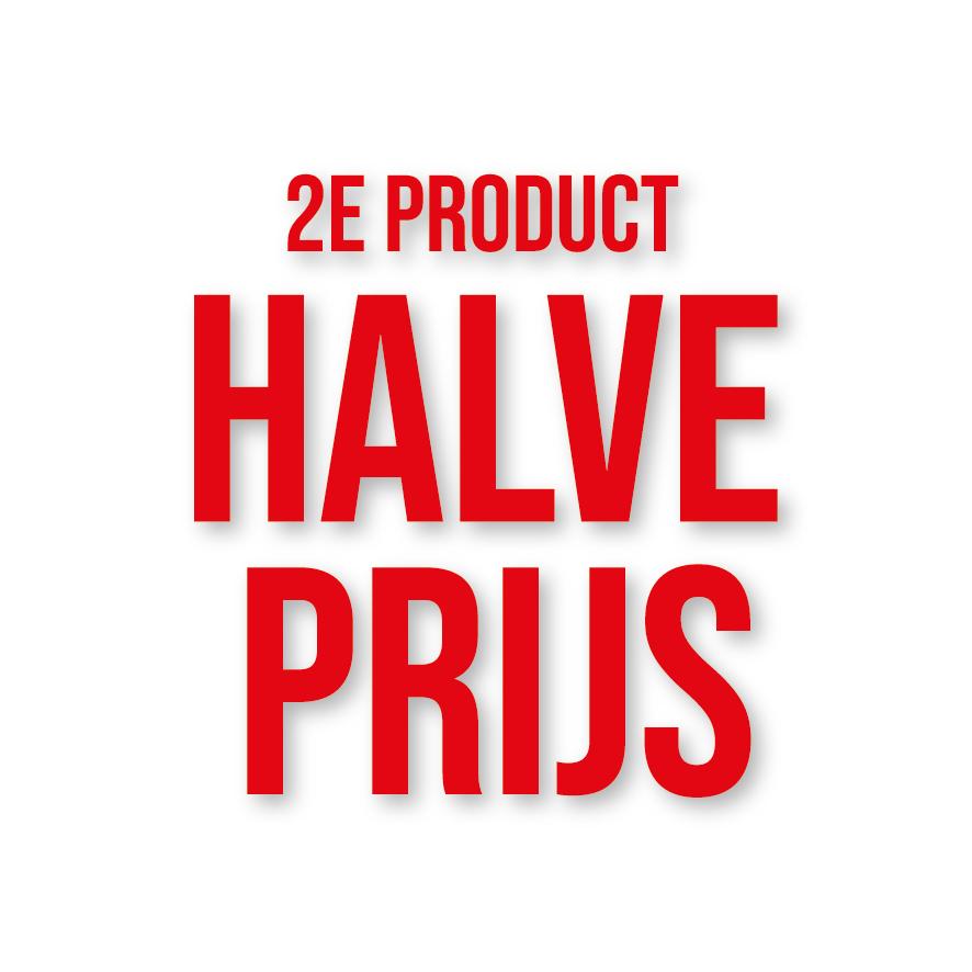 2e product halve prijs raamtekst rood