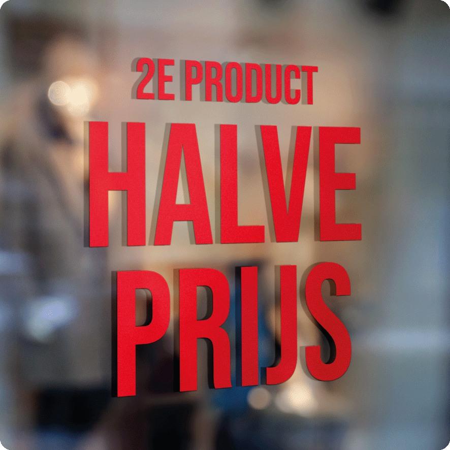 Voorbeeld '2e product halve prijs' raamtekst rood