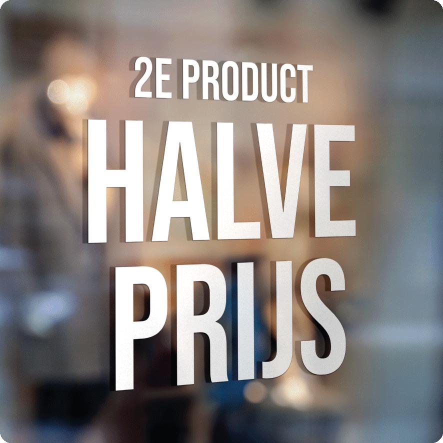 Voorbeeld '2e product halve prijs' raamtekst wit