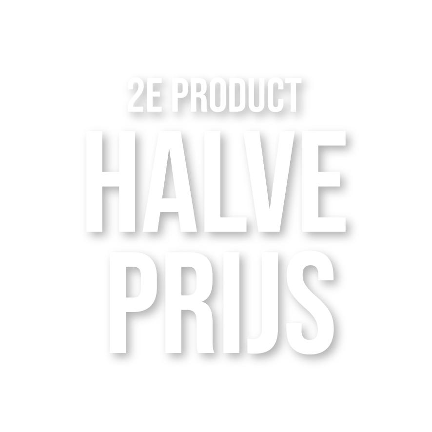 2e product halve prijs raamtekst wit