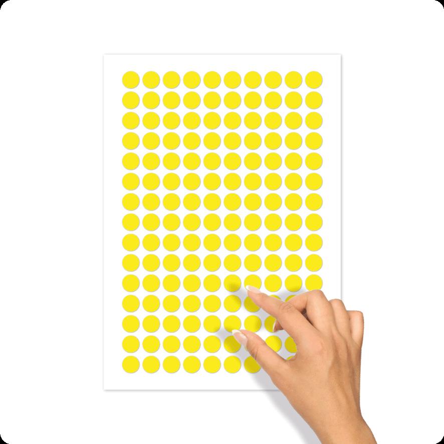 Blanco stickervel geel rond 15mm
