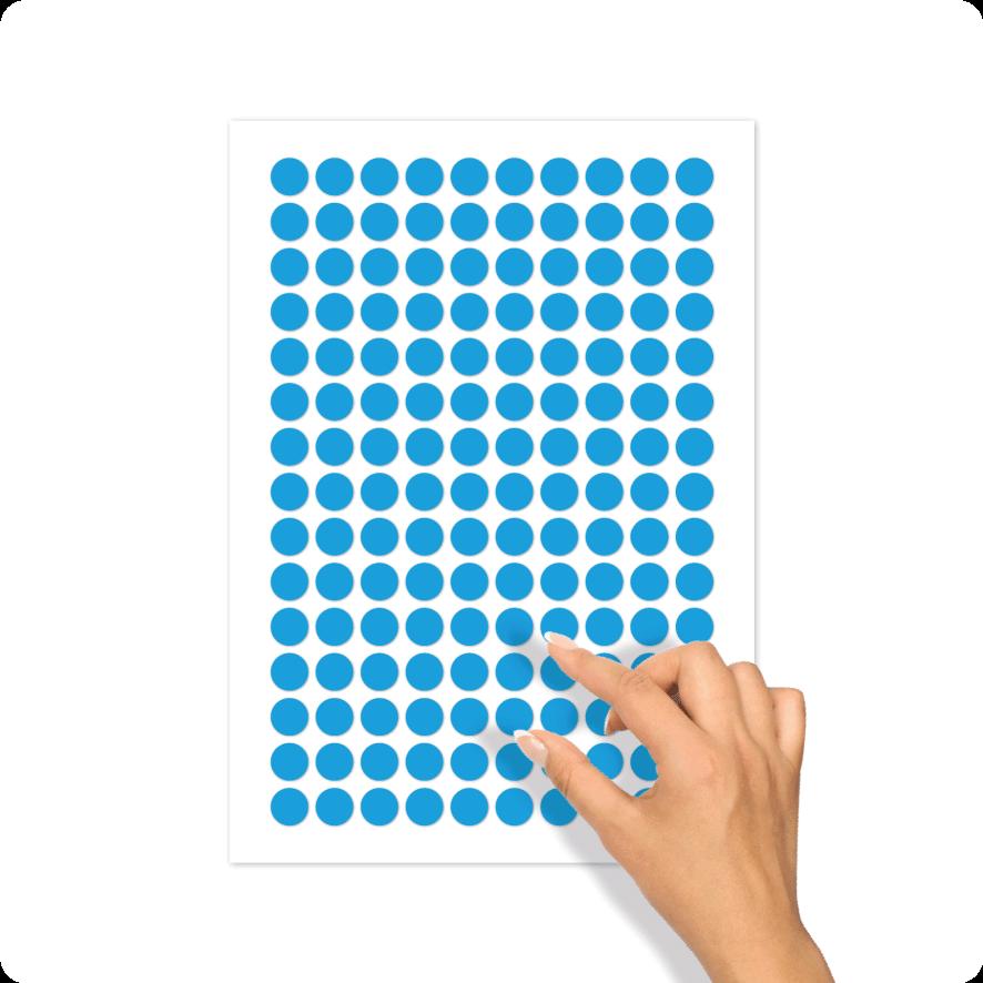 Blanco stickervel lichtblauw rond 15mm