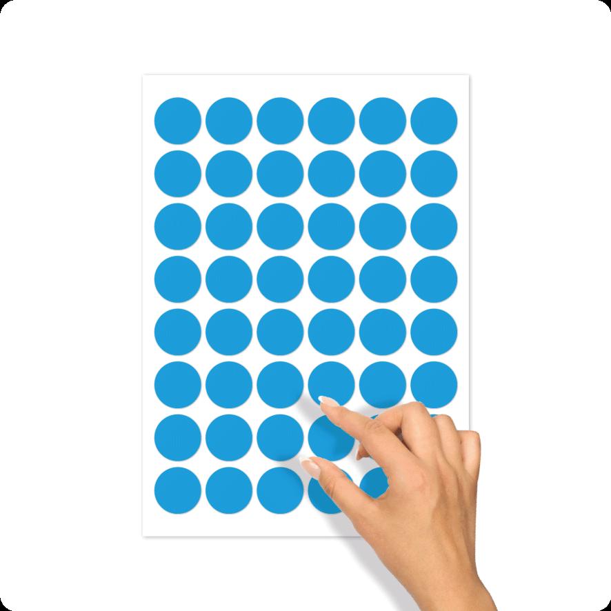 Blanco stickervel lichtblauw rond 30mm