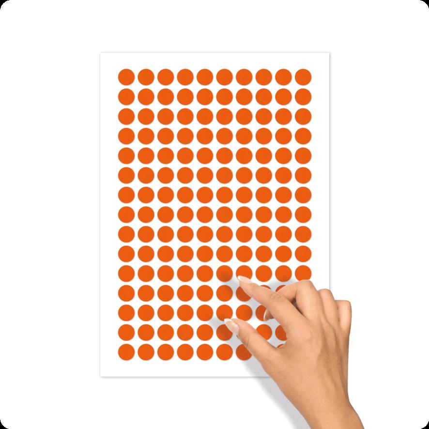 Blanco stickervel oranje rond 15mm