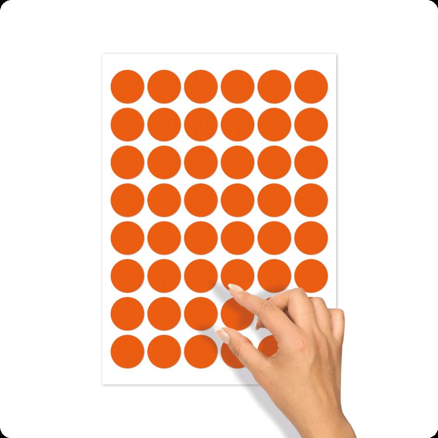 Blanco stickervel oranje rond 30mm