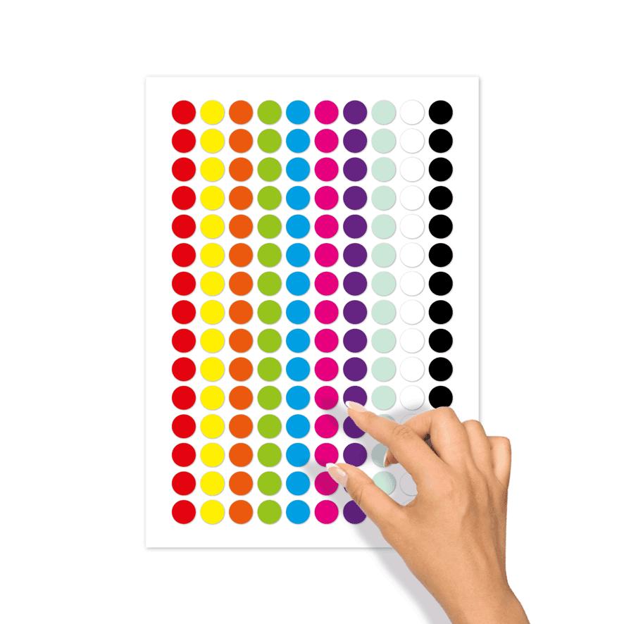 Blanco stickervel verschillende kleuren rond 15mm