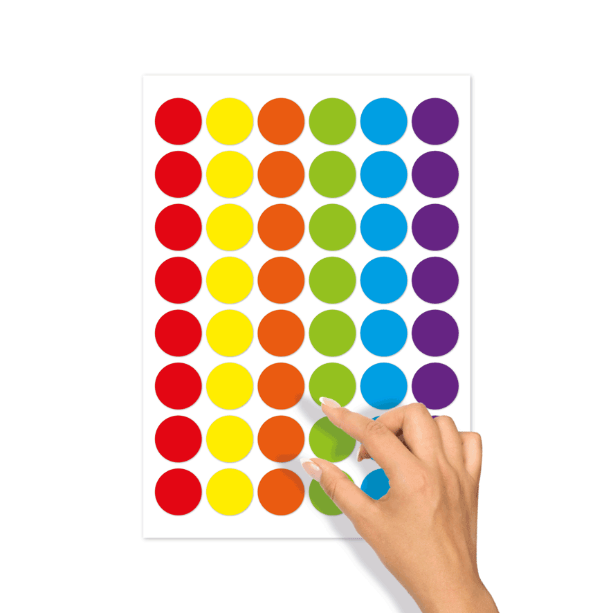 Blanco stickervel verschillende kleuren rond 30mm