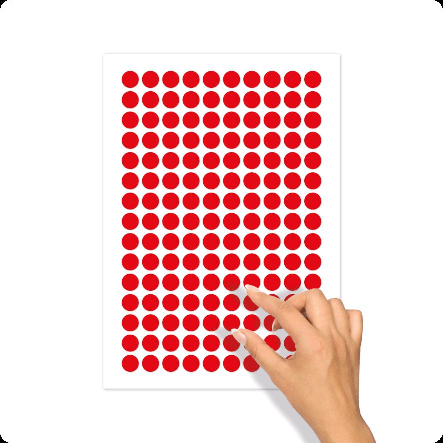 Blanco stickervel rood rond 15mm