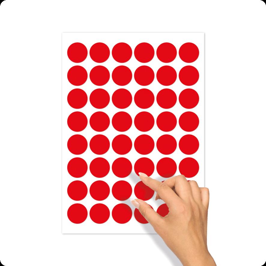 Blanco stickervel rood rond 30mm