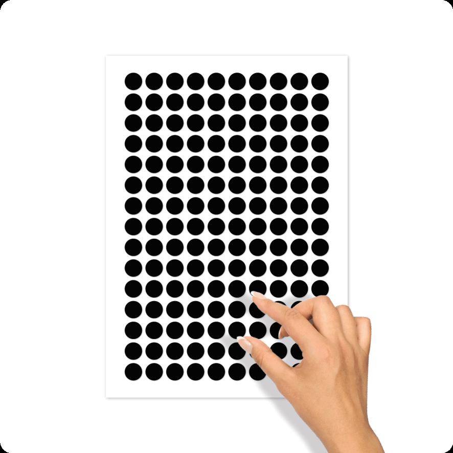 Blanco stickervel zwart rond 15mm