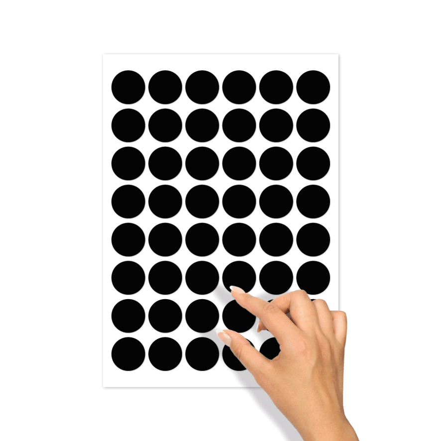 Blanco stickervel zwart rond 30mm