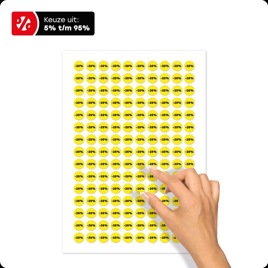 Bril kortingsstickers stickervel geel-zwart rond 15mm