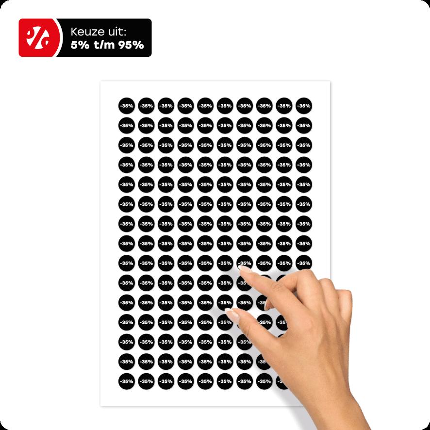 Bril kortingsstickers stickervel zwart-wit rond 15mm