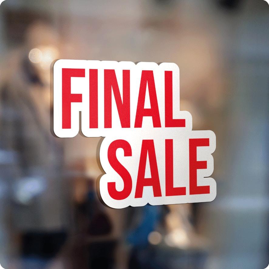 Voorbeeld 'Final Sale' raamsticker