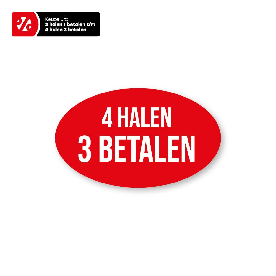 Halen/Betalen raamstickers rood-wit ovaal