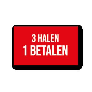 Halen/Betalen raamsticker rood-wit rechthoek