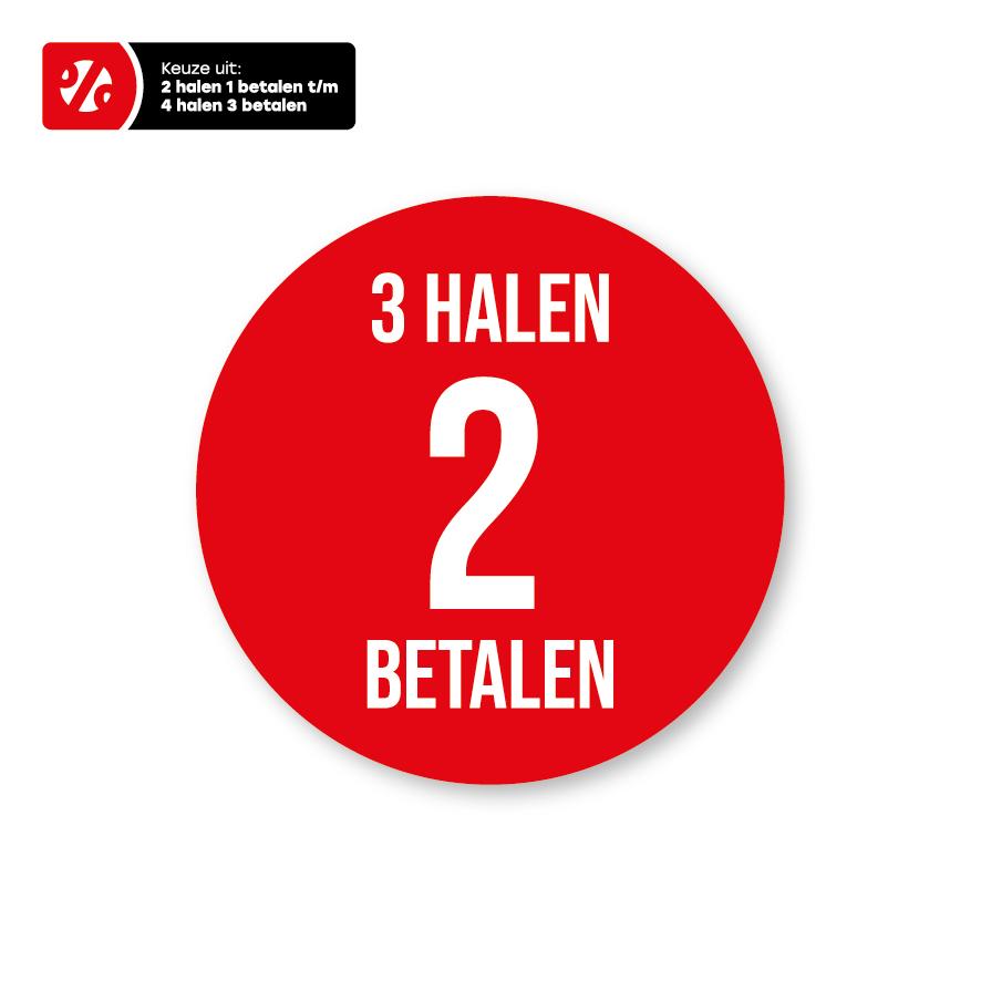 Halen/Betalen raamsticker rood-wit rond