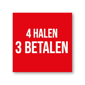 Halen/Betalen raamsticker rood-wit vierkant