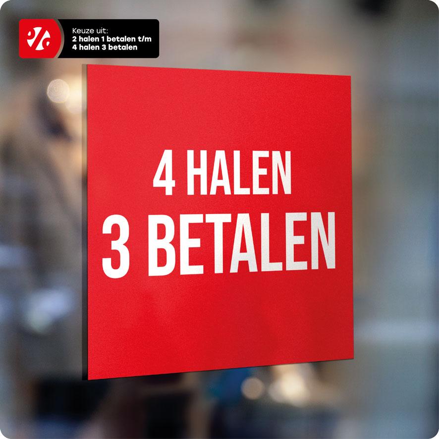Voorbeeld 'Halen/Betalen' raamsticker