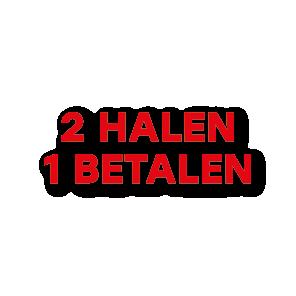 Halen/Betalen raamtekst rood