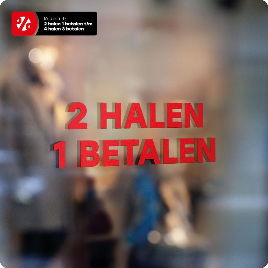 Voorbeeld 'Halen/Betalen' raamtekst rood
