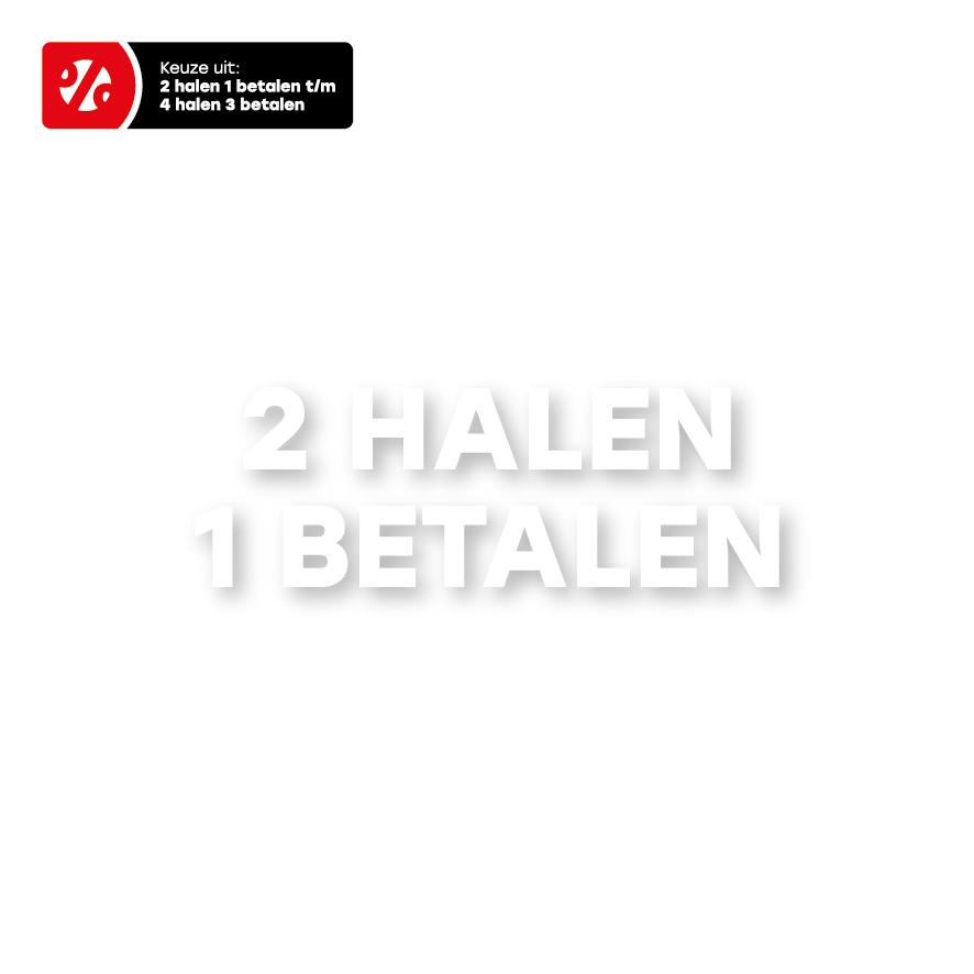 Halen/Betalen raamtekst wit