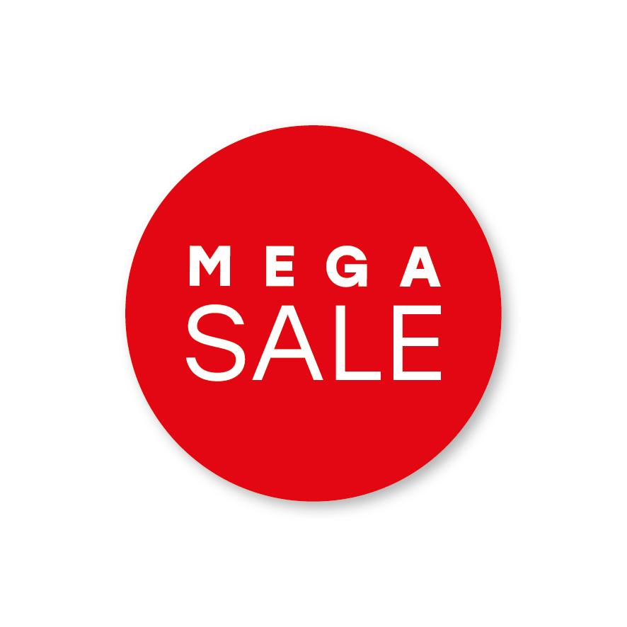 Mega Sale raamsticker rood-wit rond