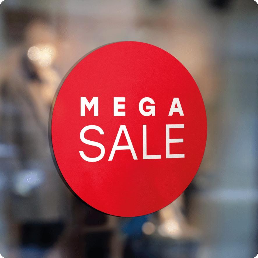 Voorbeeld 'Mega Sale' raamsticker