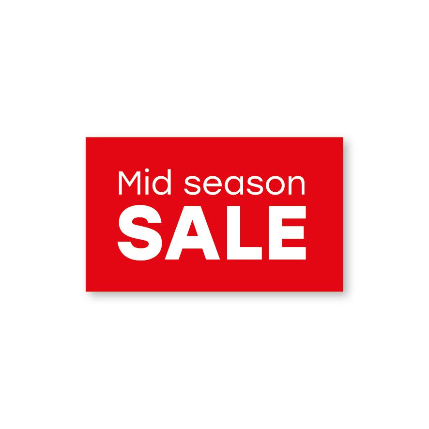 Mid Season Sale raamsticker rood-wit rechthoek