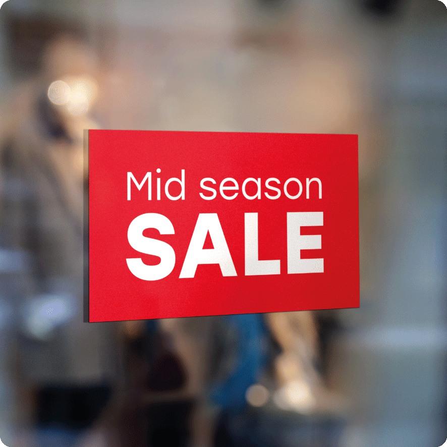 Voorbeeld 'Mid Season Sale' raamsticker