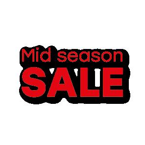 Mid Season Sale raamtekst rood