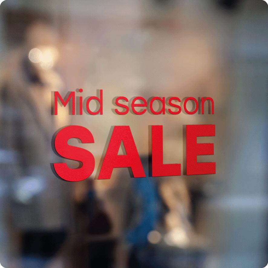 Voorbeeld 'Mid Season Sale' raamtekst rood