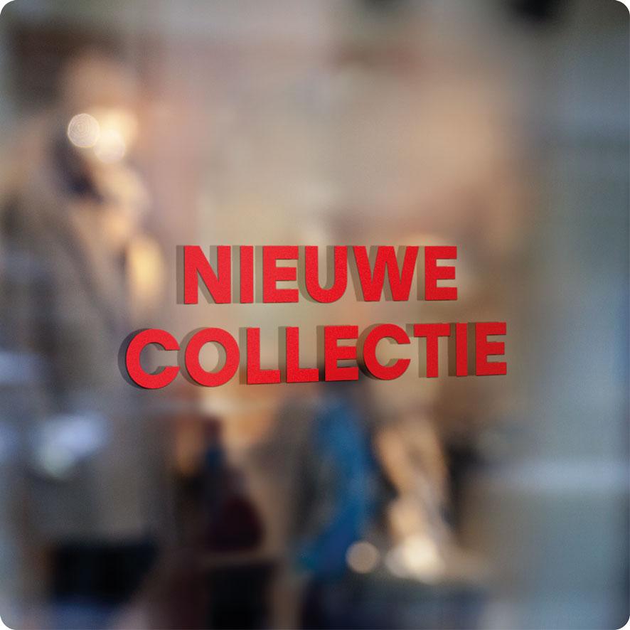Voorbeeld 'Nieuwe Collectie' raamtekst rood
