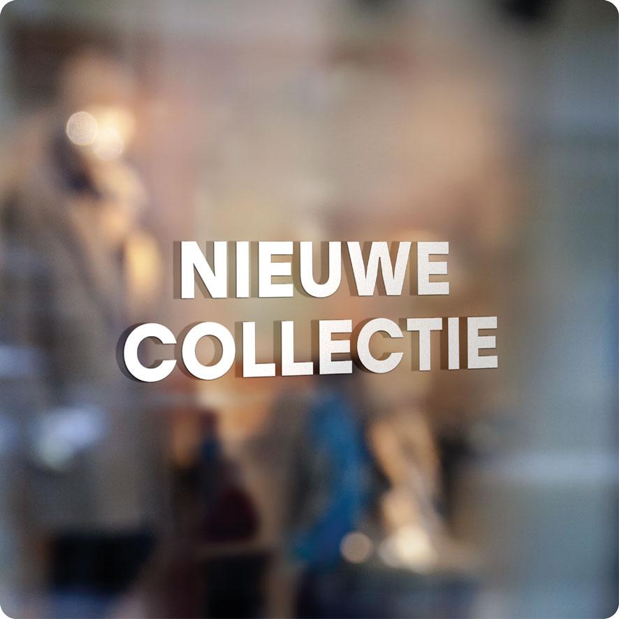 Voorbeeld 'Nieuwe Collectie' raamtekst wit