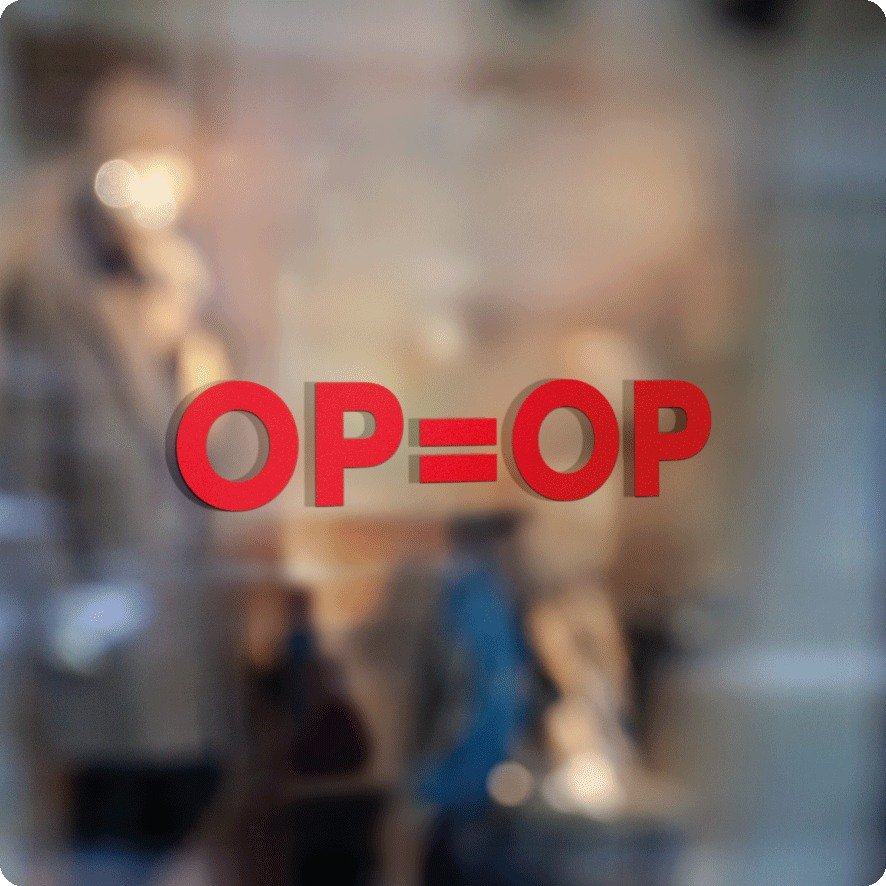 Voorbeeld 'OP=OP' raamtekst rood
