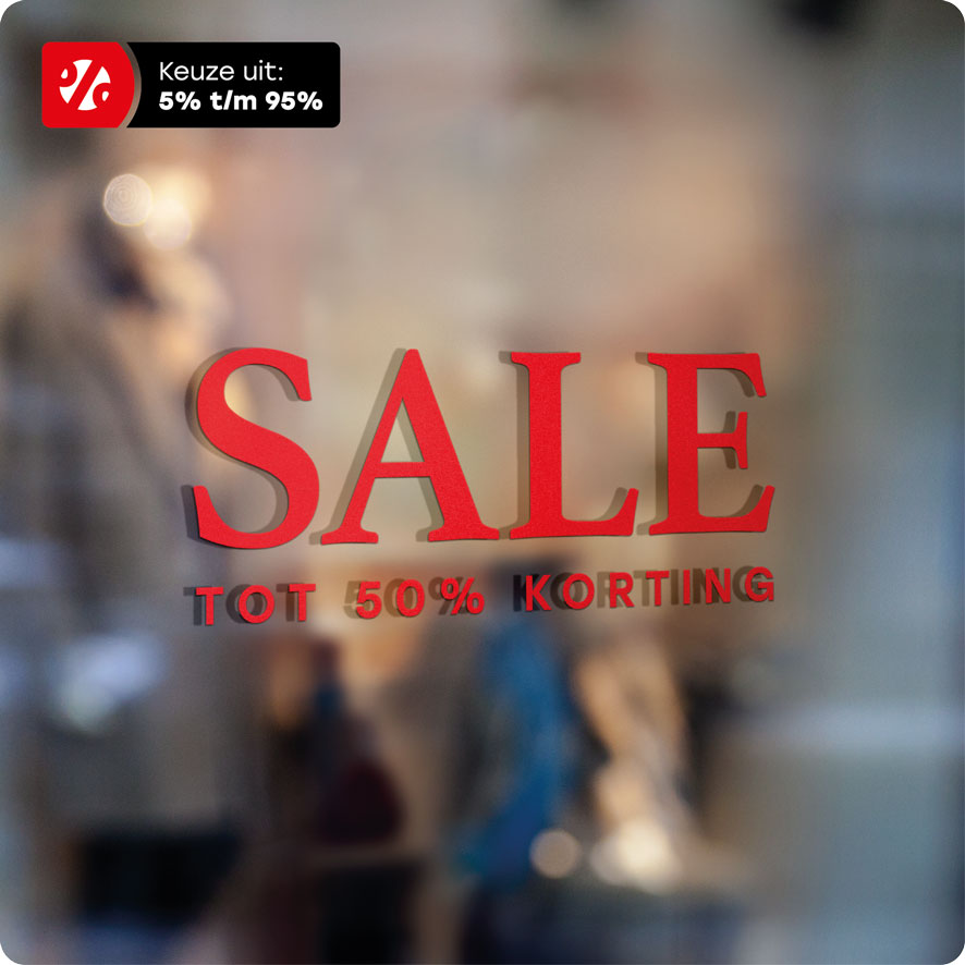 Voorbeeld 'Sale Korting' raamtekst rood