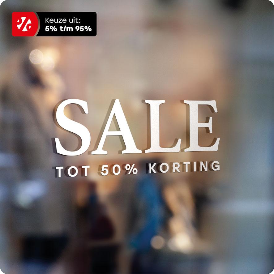 Voorbeeld 'Sale Korting' raamtekst wit