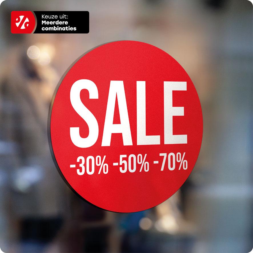 Voorbeeld 'Sale Kortingspercentages' raamsticker