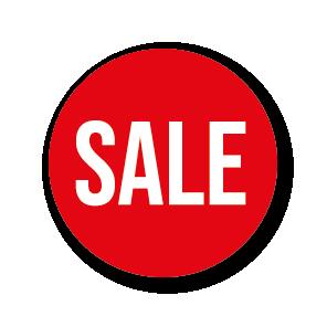 Sale raamsticker rood-wit rond