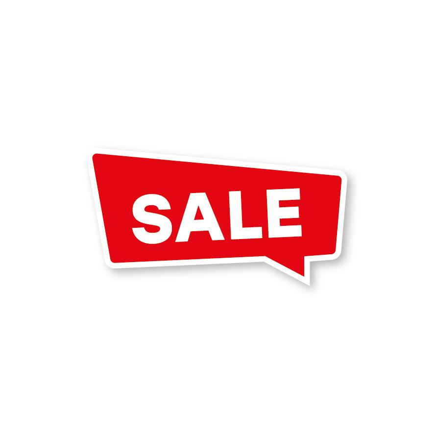 Sale raamsticker rood-wit