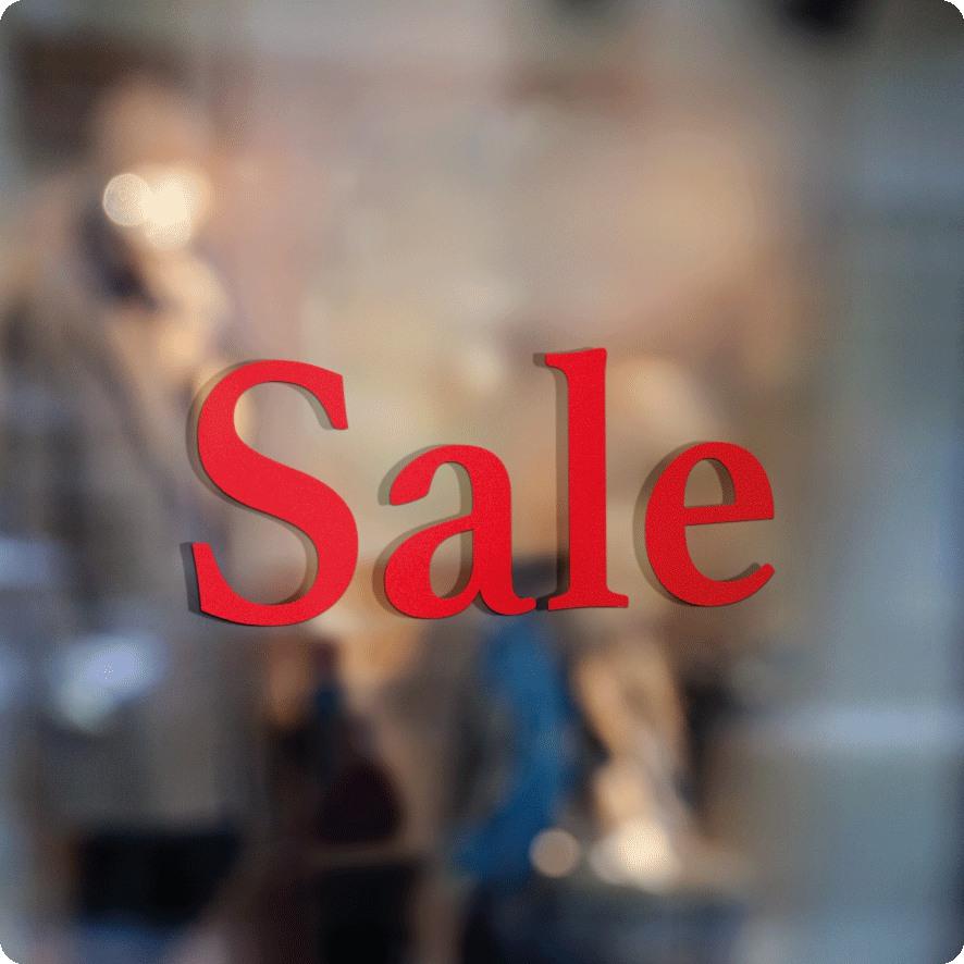 Voorbeeld 'Sale' raamtekst rood