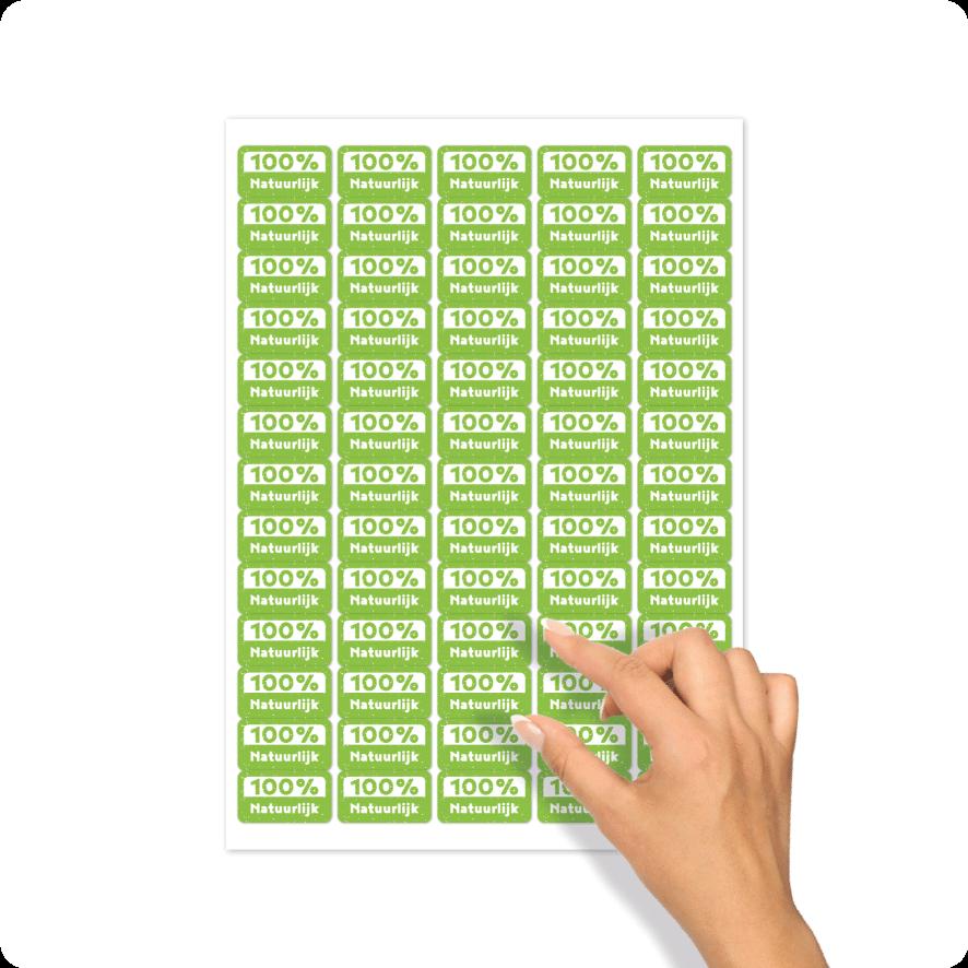 Stickers '100% Natuurlijk' stickervel lichtgroen-wit rechthoek 30mm