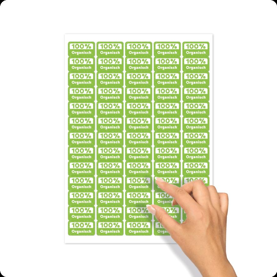 Stickers '100% Organisch' stickervel lichtgroen-wit rechthoek 30mm
