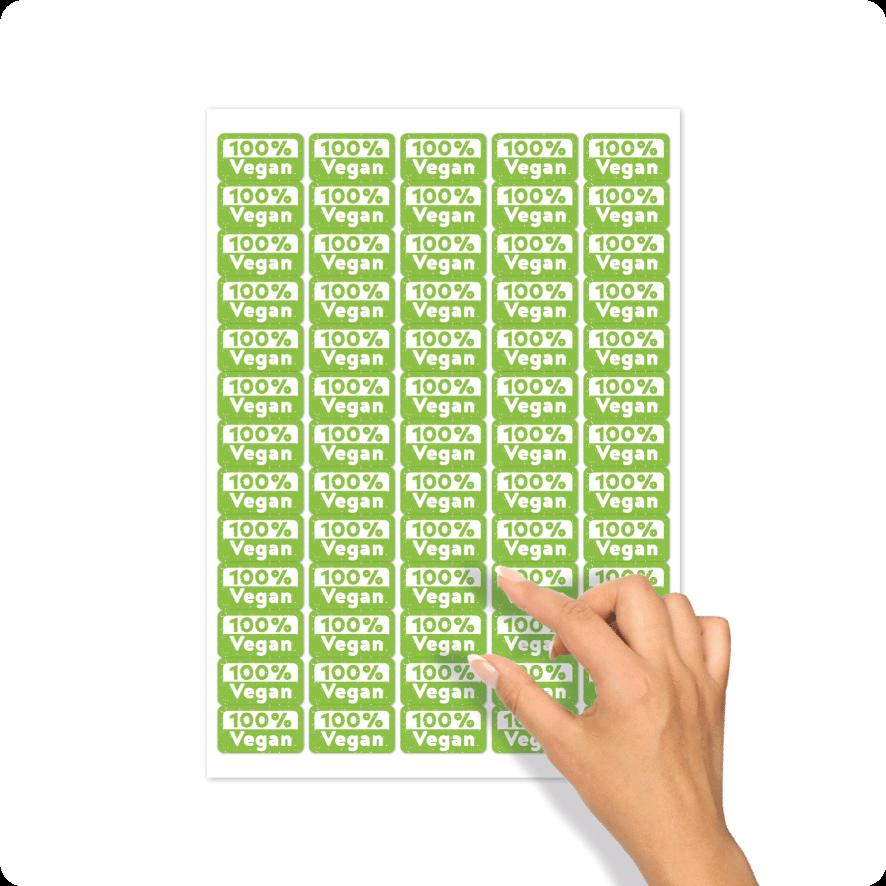 Stickers '100% Vegan' stickervel lichtgroen-wit rechthoek 30mm