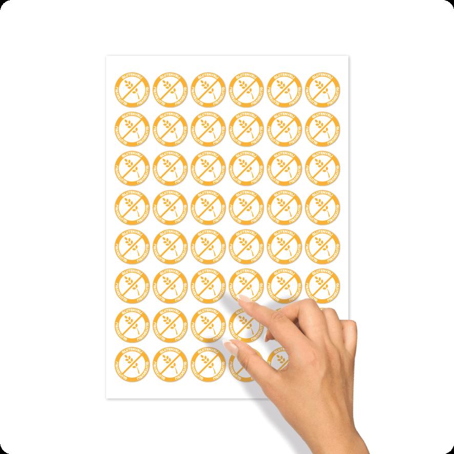 Stickers 'Glutenvrij' stickervel lichtoranje-wit rond 30mm