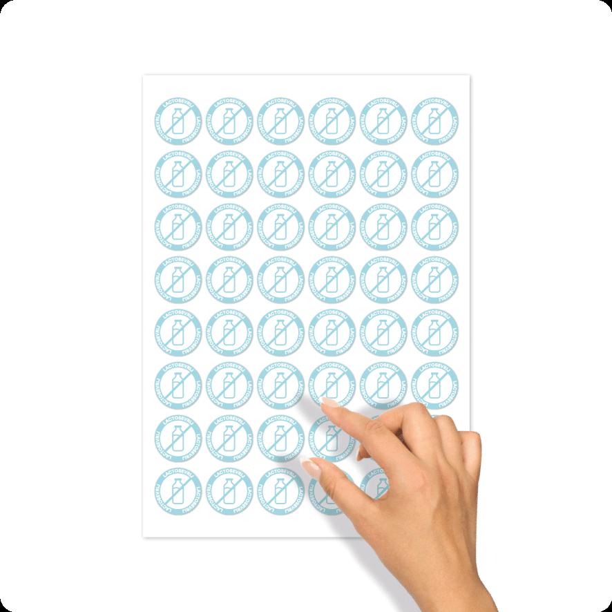 Stickers 'Lactosevrij' stickervel lichtblauw-wit rond 30mm